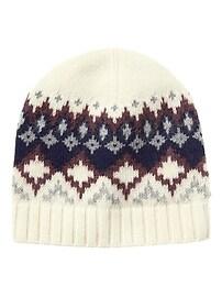 Bonnet à motifs jacquard en mélange de laine mérinos italienne