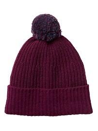 Bonnet rayé en laine mérinos italienne à pompons