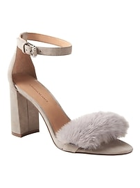 Bare High Block-Heel Faux Fur Sandal