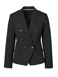 Double Breasted-Fit Lightweight Wool Blazer