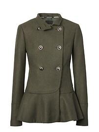 Italian Melton Wool Blend Peplum-Hem Coat