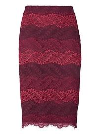 Ombré Lace Midi Pencil Skirt