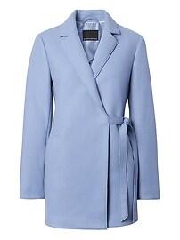 Italian Wool Blend Melton Wrap Coat