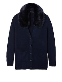 Merino-Blend Boyfriend Cardigan with Removable Faux Fur Collar