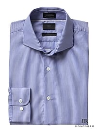 Chemise habillée rayée à monogramme, coupe Grant