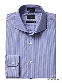 Monogram Grant Slim-Fit Stripe Dress Shirt