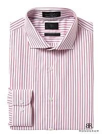 Chemise à monogramme rayée en coton d'Italie, coupe cintrée Grant