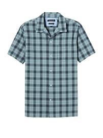 Chemise Oxford à carreaux manches courtes en coton extensible, coupe Camden standard