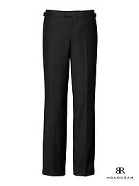 Slim Monogram Black Italian Wool-Mohair Tuxedo Trouser