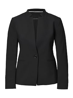 Inverted Collar Lighweight Wool Blazer