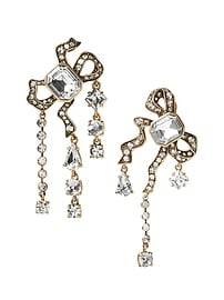 Jeweled Asymmetric Bow Clip-On Earring