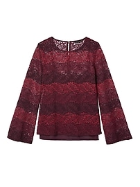 Ombré Lace Bell-Sleeve Top