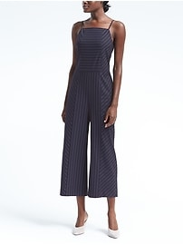 Pinstripe High-Neck Crop Jumpsuit