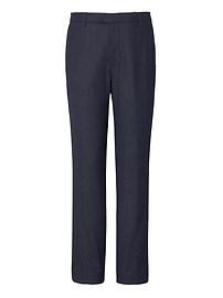 Pantalon habillé étroit en mélange de flanelle et laine extensible Performance pied-de-poule