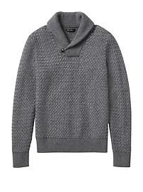 Merino-Blend Basketweave Shawl Sweater