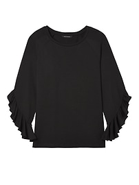 Brushed Jersey Ruffle-Sleeve Top