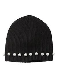 Bonnet en mélange de laine mérinos orné de perles