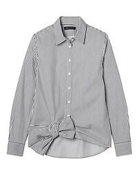 Dillon-Fit Stripe Bow-Hem Shirt