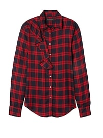 Dillon-Fit Plaid Ruffle Flannel Shirt