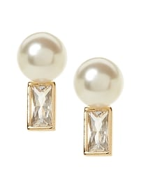 Bezel Stone and Pearl Stud Earring