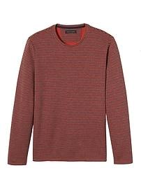 T-shirt ras du cou rayé à manches longues en tricot double