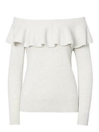 Feather Touch Ruffle Off-the-Shoulder Sweater