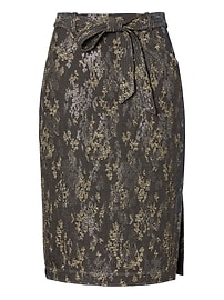 Jacquard Belted Pencil Skirt with Side Slit