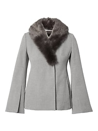 Bell-Sleeve Jacket with Removable Faux Fur Collar