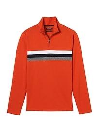 Luxury-Touch Chest-Stripe Half-Zip