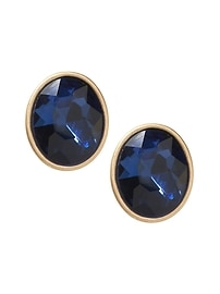 Colored Gem Oval Stud Earring