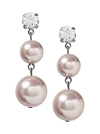 Pearl and Stone Double Drop Earring