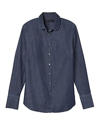 Riley-Fit Rounded-Collar Denim Shirt