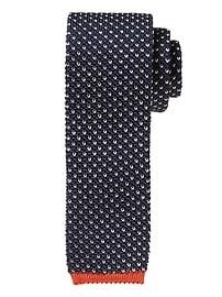 Cravate en tricot de soie œil de perdrix