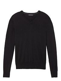 T-shirt à col enV soie/coton/cachemire