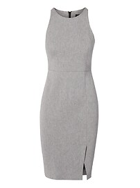 Twill Racer-Neck Sheath Dress