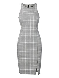 Plaid Bi-Stretch Racer-Neck Sheath Dress