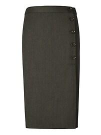 Side-Button Pencil Skirt