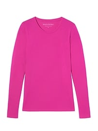 Stretch Cotton-Modal Long-Sleeve Crew