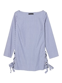 Stripe Lace-Up Tunic With Grommet Details