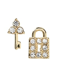 Lock and Key Stud Earring