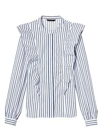 Riley-Fit Stripe Ruffle-Front Shirt