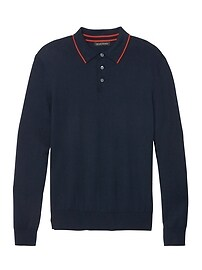 Silk Cotton Cashmere Tipped Sweater Polo