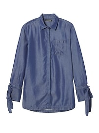 Parker Tunic-Fit Chambray Tie-Cuff Shirt