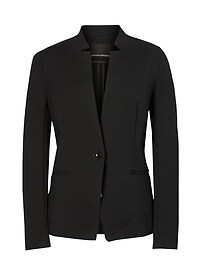 Long and Lean-Fit Inverted Collar Ponte Blazer