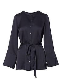 Belted Button-Down Shirt