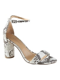 Bare High Block-Heel Print Sandal