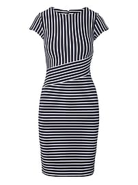 Stripe Ponte Sheath Dress