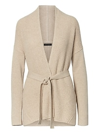 Italian Superloft Ribbed Belted Cardigan