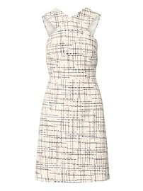 Italian Tweed Cross-Front Sheath Dress