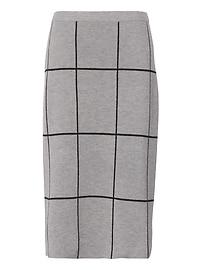 Grid Sweater Pencil Skirt